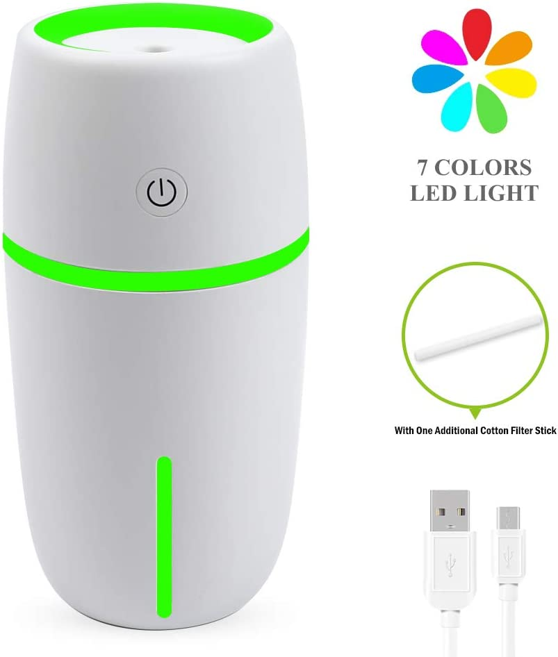 Vech Mini USB Humidifier, 200ML Portable Ultrasonic Cool Mist Humidifier with 7 Colorful LED lights, Small Personal Humidifier for Bedroom Home Office Car Desktop, Quiet Operation, Adjustable Mist