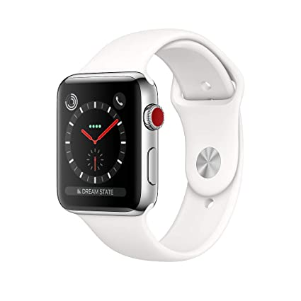 wholesale dealer 231d4 408f8 Apple Watch Series 3, 42MM, GPS + Cellular, Stainless Steel Case, Soft  White Sport Band (Renewed)