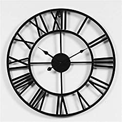 16inch Vintage Retro Design 3D Wrought Iron Decorative Wall Clock Silent Non-Ticking Round for Kitchen Living Room Bathroom Bedroom Wall Home Decor with Roman Numerals,Black