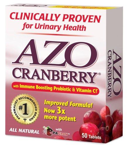 AZO Tous les Comprimés naturelles de canneberge concentré, 50-Count Boîtes (pack de 3)