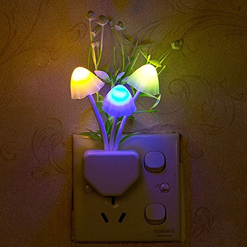 4Pack Night Lights for Kids Children Adults Led Night Light,AUSAYE 7-color Changing Light Sensor Wall Lamp,Dusk to Dawn Mushroom Night Light LED Nightlight Plug in Night Light Nursery Bed Lamps Flower