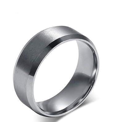 Amazon.com: Anillo de titanio y acero inoxidable para hombre ...