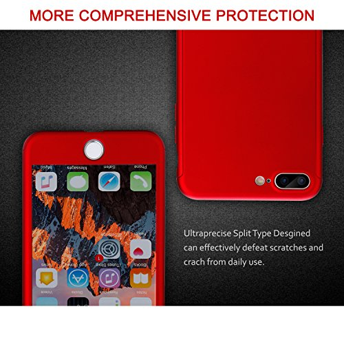 iPhone 7 Plus Case, VANSIN 360 Full Body Protection Hard Slim Case Coated Non Slip Matte Surface with Tempered Glass Screen Protector for Apple iPhone 7 Plus (5.5-inch) - Red