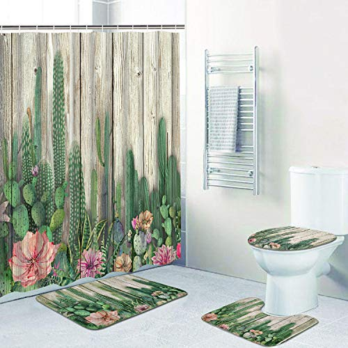 Alishomtll 4 Pcs Cactus Shower Curtain Set with Non-Slip Rug, Toilet Lid Cover, Bath Mat and 12 Hooks, Tropical Succulent Cacti on Wooden Board Waterproof Shower Curtain Sets for Bathroom (Matching And Curtains Rugs)