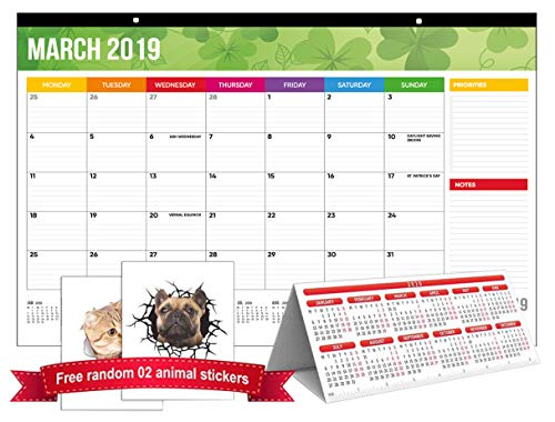 Price comparison product image Desk Pad Calendar 2019,  Office Rainbow Wall Calendar Large Size 17''x11'' Runs from November 2018,  Beautiful Academic Year Teachers Family Monthly Desktop Calendar Planner 2019-2020