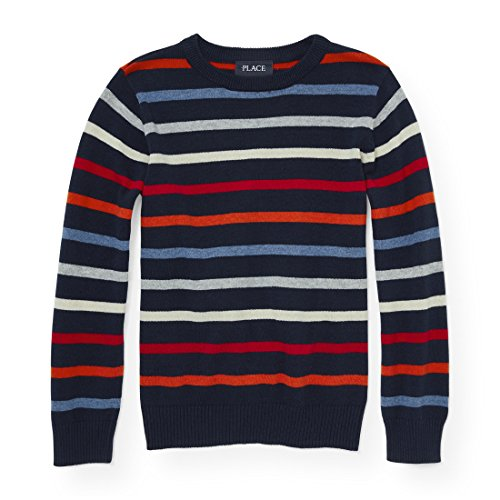 Striped Boys Sweater - The Children's Place Big Boys' Striped Crew Sweater, Tidal, S (5/6)