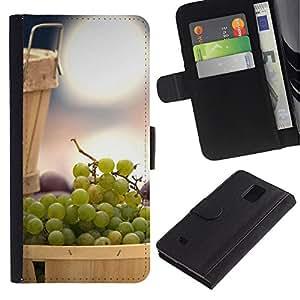 LASTONE PHONE CASE / Lujo Billetera de Cuero Caso del tirón Titular de la tarjeta Flip Carcasa Funda para Samsung Galaxy Note 4 SM-N910 / Fruit Mint Lemon