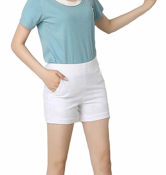 3c8be0f2b Moda Mujer Verano Señora Casual Lino Pantalones Cortos Beach High ...
