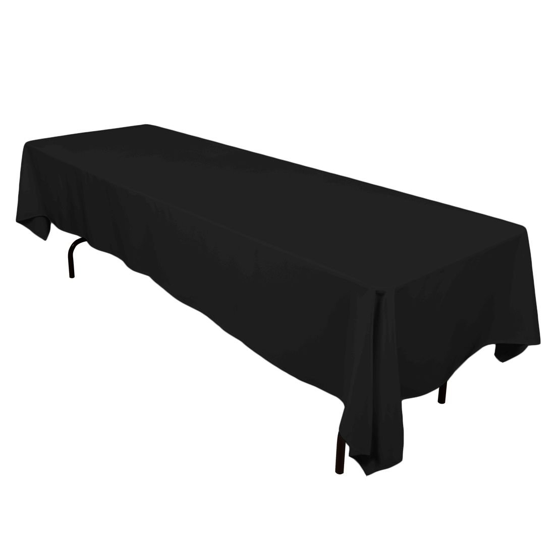 LinenTablecloth 60 x 126-Inch Rectangular Polyester Tablecloth Black 60126-010111