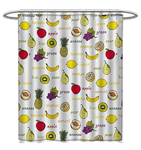 Fruits Shower Curtains Sets Bathroom Kiwi Banana Plums Lemon Orange Pear Grape Apricot Kitchen Food Print Bathroom Accessories W48 x L84 Yellow Cream Purple Ruby ()