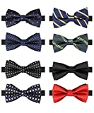 BASH 8 PACKS Elegant Adjustable Pre-tied bow ties for Men Boys in Different Colors (B)