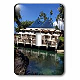 Sandy Mertens Hawaii Travel Designs - Restaurant and Shark in Pond at Resort on the Big Island, HI - Light Switch Covers - single toggle switch (lsp_232748_1)