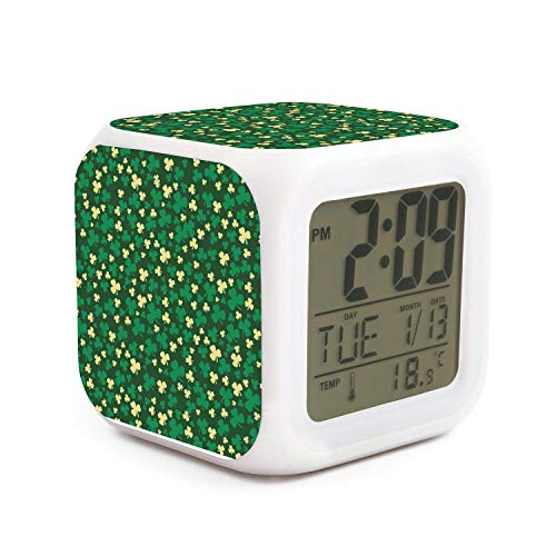 NALINA Digital LED Alarm Clock Big Digit Display Cube Clock Massachusetts Basketball Team Clover Logo Touch Control 7 Color Clocks for Office and Home