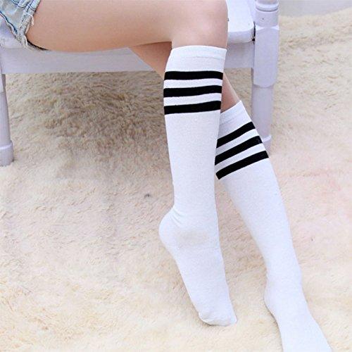 f0ce7aad1c9 Qinlee Pas de talon Filles Femme Longues Genou Haute Chaussettes Mignon  Motif Rayures