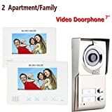 MOUNTAINONE 2 Apartment/Family Video Door Phone Intercom System 1 Doorbell Camera with 2 button 2 Monitor Waterproof SY811WMC12