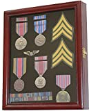 Display Case Cabinet Shadow Box for Military Medals, Pins, Patches, Insignia, Ribbons, Cherry Finish, MPC02-CH