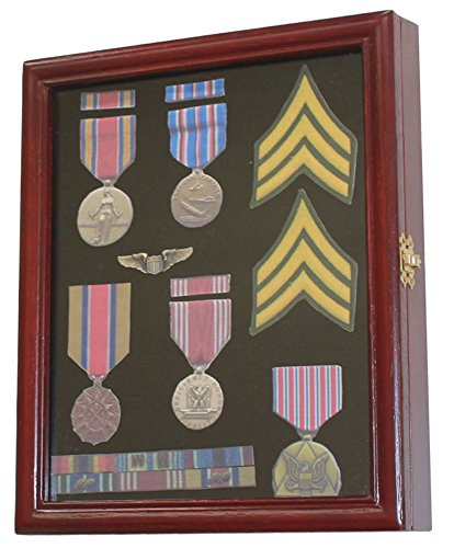 (Display Case Cabinet Shadow Box for Military Medals, Pins, Patches, Insignia, Ribbons, (Cherry Finish))