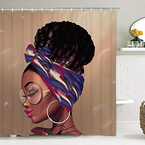African American Shower Curtain Afro Girl Shower Curtain with 12 Hooks, African Woman with Afro Chic Hairstyle Shower Curtain, Afrocentric Lady Shower Curtain, Waterproof & Durable