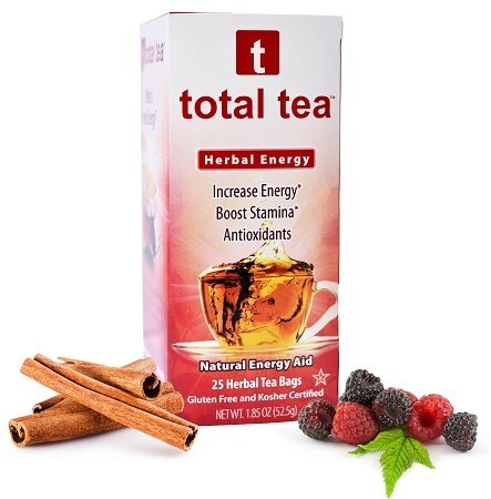 Total Tea Energy Tea 2 | 100% Natural | Better Focus and Energy | 25 sealed teabags