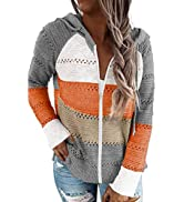 Biucly Womens Long Sleeve Knit Sweater Zip Up Hoodie Jacket Lightweight Drawstring Color Block Sw...