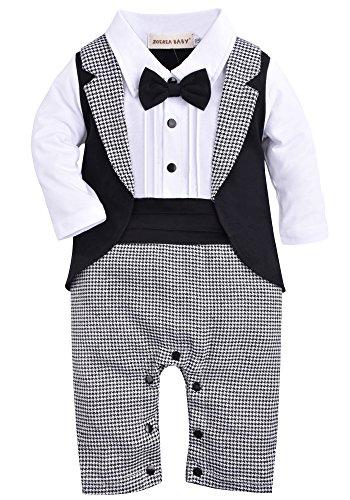 (ZOEREA 1pc Baby Boys Tuxedo Gentleman Onesie Romper Jumpsuit Wedding Suit 3-18 M (Label 70/Age 3-6 Months,)
