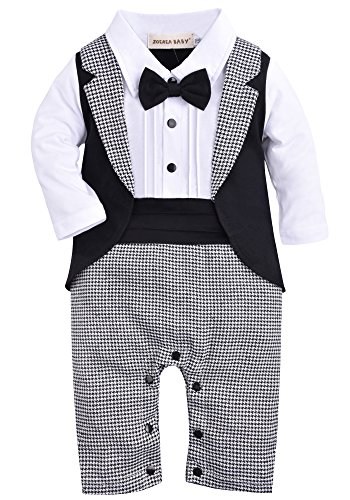 b41d8ae323a ZOEREA 1pc Baby Boys Tuxedo Gentleman Onesie Romper Jumpsuit Wedding Suit  3-18 M