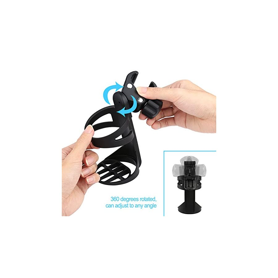 Universal Stroller Cup Holder/Bike Cup Holder, Large Caliber Designed Cup Holder, 360 Degrees Universal Rotation Cup Bottle Holder for Baby Stroller, Pushchair, Bicycle,Wheelchair, Motorcycle