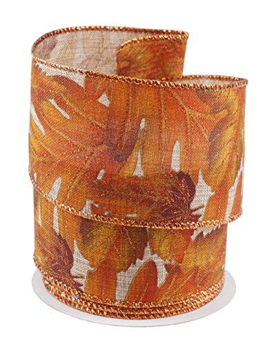 Autumn Leaves Linen Wired Ribbon #40-2.5
