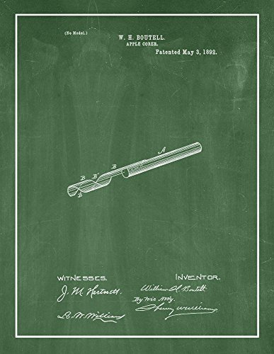 Border Apple Chalkboard - Apple Corer Patent Print Green Chalkboard with Border (13
