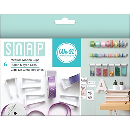 American Crafts 662709 6 Piece We R Memory Keepers Snap Storage Ribbon Clips, Medium