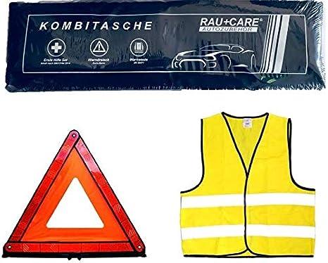 Tuningmods 3en 1Coche Kit de Primeros Auxilios Bolsa–Trio con Chaleco Reflectante para Kit de Primeros Auxilios Advertencia triángulo