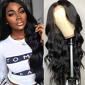 Image of 360 Body Wave Lace Frontal Wigs Human Hair Brazilian Black Women 150% Density Pre Plucked With Baby Hair 100% Unprocessed Virgin Human Hair (20 inch)