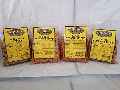 Golden Flavor Sesame Sticks - Variety Pack - 3 pounds total - (4) 12 ounce bags - Cheddar - Cajun - Wild Rice - - Sticks Sesame