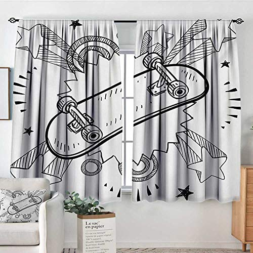 Theresa Dewey Rod Pocket Blackout Curtain Doodle,Sketch of a Skateboard with Sixties and Seventies Style Pop Art Inspired Background,Black White,Decor/Room Darkening Window Curtains 63