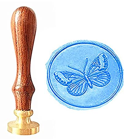 MNYR Vintage Butterfly Nature Animal Art Wax Seal Stamp Rosewood Handle Decorative Wedding Invitations Gift Cards Paper Stationary Envelope Custom Logo Picture Wax Seal Sealing Stamp Set