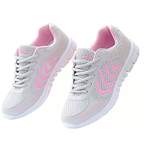 Alicegana Women's Breathable Mesh Tennis Athletic Fashion Sneakers Walking Sports Road Running Shoes Plus Size Pink