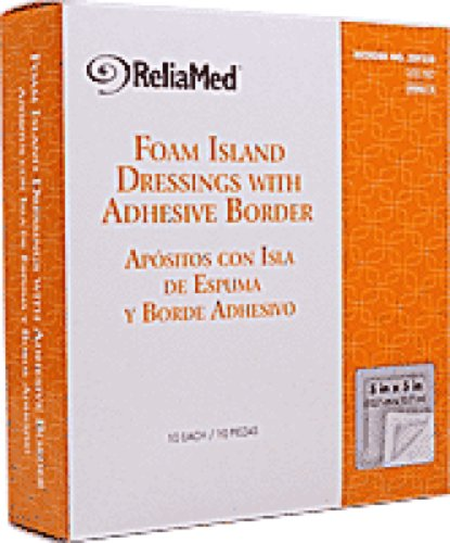 ReliaMed Sterile Latex-Free Foam Island Dressing with Adhesive Border 5'' x 5'' with 3'' x 3'' Pad (10/Box) (Box of 10 Each) by ReliaMed Hydrocolloid & Foam