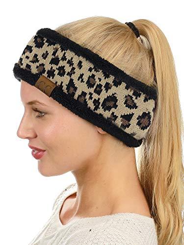 C.C Soft Stretch Winter Warm Cable Knit Fuzzy Lined Ear Warmer Headband, ()