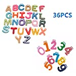 STUDYY 36 Pcs Novelty Refrigerator Magnets Funky Fun Colorful Wooden Magnetic Letters A-Z Number Wooden Fridge Magnets Kid Toys Education