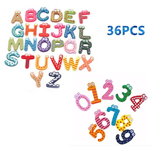 STUDYY 36 Pcs Novelty Refrigerator Magnets Funky Fun Colorful Wooden Magnetic Letters A-Z Number Wooden Fridge Magnets Kid Toys ()
