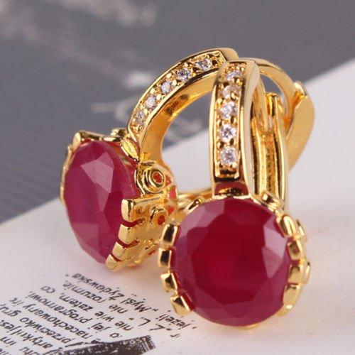 preeyanan Gorgeous 24K yellow gold filled ruby Luxury wedding beauty hoop earring