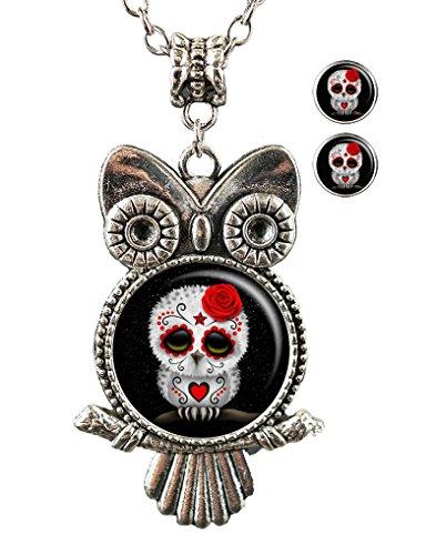 OneBee Sugar skull owl Custom Fashion Personalized Owl Pendant Glass Necklace Label Earrings Jewelry Set