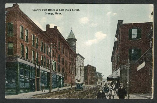 - Livery Stage Orange Post Office & East Main Street Orange MA postcard 1913