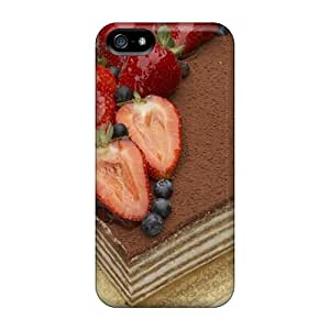 Premium Durable Strawberry Topped Chocolate Layer Cake Fashion Tpu Iphone 5/5s Protective Case Cover