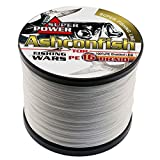 Ashconfish Braided Fishing Line-16 Strands Hollow Core Fishing Wire 500M/546Yards 80LB Abrasion Resistant Incredible Superline Zero Stretch UltraThin Diameter Woven Thread White For Sale