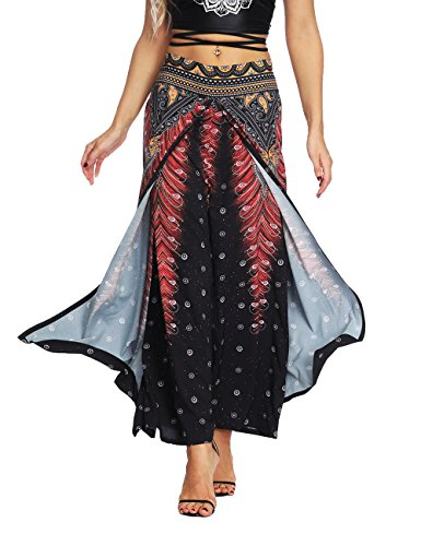 AMOMA Women Wide Leg Side Split Trousers Summer Casual Elastic Wasit Loose Pants Indie Folk Hippy Aladdin Boho Style Pants