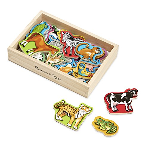 Melissa & Doug Wooden Animal Magnets (Developmental Toys, Wooden Storage Case, 20 Animal-Inspired Magnets, 8