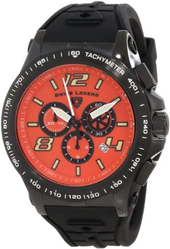 Swiss Legend Men s 10040-BB-06 Sprint Racer Chronograph Orange Dial Watch