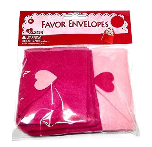 (PINK FABRIC FAVOR ENVELOPES 6CT)