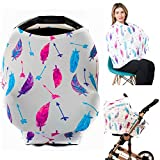 Premium Soft, Nursing Cover, Breastfeeding Cover, Baby Car Seat Cover, Carseat Canopy, Infant Stroller Cover for Girls and Boys - Feather by GUFIX